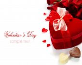 Valentine composition with roses and gift box over white (with easy removable sample text)