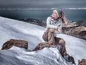 pic of snowy hill  - Beautiful stylish woman in snowy mountains - JPG