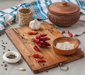 Pepper, Spices And Garlic In The Ukrainian Cuisine