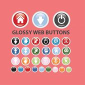 glossy colorful web buttons, icons, signs, silhouettes set, vector