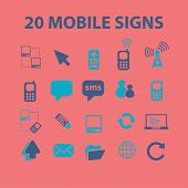 mobile, smartphone, message, connect icons, signs, illustrations, silhouettes set, vector
