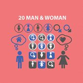 man, woman, wc, gender icons, signs, illustrations, silhouettes set, vector