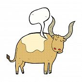 image of oxen  - cartoon ox with speech bubble - JPG