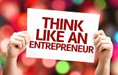 Think Like an Entrepreneur card with colorful background with defocused lights