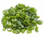 pic of scallion  - chopped spring onion or scallion isolated on white background cutout - JPG