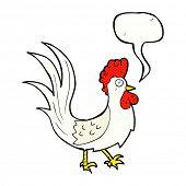 cartoon cockerel with speech bubble