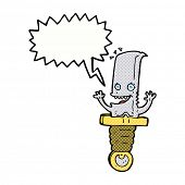 crazy cartoon knife character with speech bubble