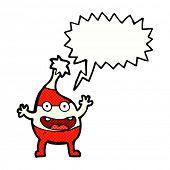 cartoon funny christmas creature with speech bubble