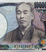 Close up shot of Japanese yen note