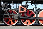 Steam locomotive detail with cranks and wheels