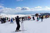 Skiers Enjoy The Snow At Kaimaktsalan Ski Center, In Greece. Recently At The Ski Center Every Lift H