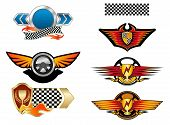 Racing sports emblems and symbols