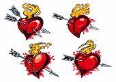 Bleeding hearts with arrows