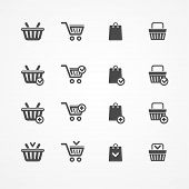 picture of cart  - Vector Set of shopping cart icons on white - JPG