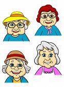 Cartoon happy old women and seniors