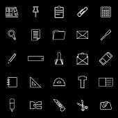 Stationery Line Icons On Black Background