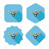 stock photo of rudolph  - Reindeer Flat Icon With Long Shadow - JPG