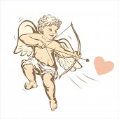 Vintage cupid on white. Vector