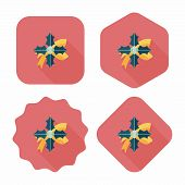Poinsettia Flat Icon With Long Shadow, Eps10