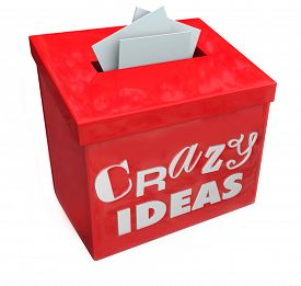 pic of wacky  - Crazy Ideas words on a red suggestion box to submit your funny - JPG