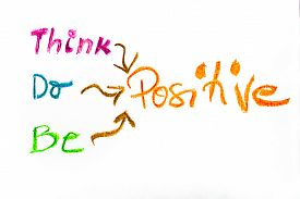 image of think positive  - Think Positive colorful hand writing on paper positive thinking conceptual image - JPG