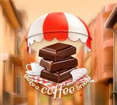 foto of time-piece  - Pieces of chocolate and cup of coffee - JPG