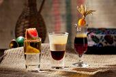 stock photo of sackcloth  - Alcohol Shot Cocktail on Sackcloth - JPG