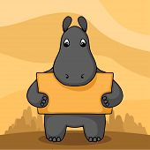 picture of behemoth  - Cute hand drawn hippo with empty banner in hands - JPG