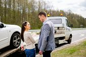 image of tow-truck  - Couple near tow - JPG