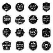 Set of retro style premium quality badges and labels with shadow. poster
