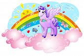 picture of pegasus  - Cute pegasus in the sky with sun and rainbow - JPG