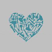 stock photo of carpentry  - Symbol heart of Construction tools - JPG