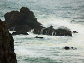 Coast Of The Pacific Ocean On A Stormy Day