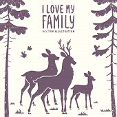 stock photo of deer family  - vector illustration silhouette of beautiful family deer in a pine forest - JPG