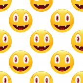 pic of emoticons  - Vector vampire emoticon repeated on white background - JPG