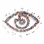 stock photo of low-necked  - A large group of people in the form of the eye - JPG