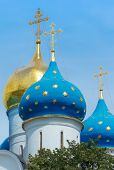 foto of cupola  - Closeup of the cupolas of Dormition Cathedral in the Trinity Lavra of St - JPG