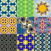 stock photo of mandelbrot  - Set of fractal floral patterns textures or backgrounds - JPG