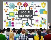 stock photo of social-security  - Social Network Internet Online Society Connecting Social Media Concept - JPG