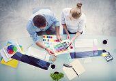 pic of workstation  - Brainstorming Planning Partnership Strategy Workstation Business Administration Concept - JPG