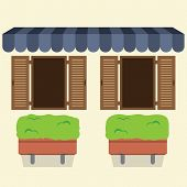 foto of awning  - Two Windows Under Awning With Pot Plant Below Vector Illustration - JPG