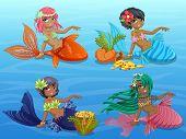 image of mermaid  - 4 Cute Mermaids Sitting on Blue Background - JPG