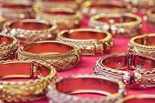 image of bangles  - Close up old thai style handmade bangle in thailand - JPG