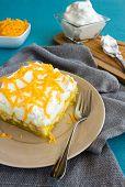 image of jello  - Hawaiian salad made with lemon jello pineapple banana mini marshmallows topped with whipped cream and cheddar cheese - JPG