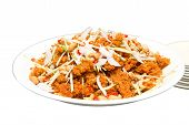 stock photo of catfish  - Crispy catfish spicy salad with sauce Thaifood - JPG