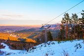 foto of ropeway  - ropeway at mountain landscape shot at - JPG
