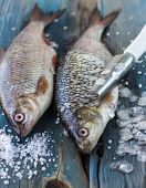 pic of caught  - Freshly caught fish on a wooden table and a knife for cleaning of scales - JPG