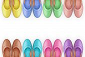 stock photo of shoes colorful  - a frame of colorful leather shoes isolation on a white background - JPG