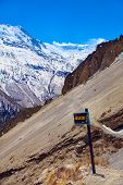 stock photo of snow-slide  - Snow capped mountains - JPG