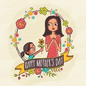 foto of occasion  - Illustration of a daughter giving a flower to her mother on occasion of Happy Mother - JPG